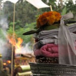 Cremation ceremony in Lombok, offerings
