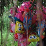 Cremation ceremony in Lombok, balloons for children