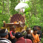 Cremation ceremony in Lombok, parade to cremation place