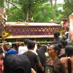 Cremation ceremony in Lombok, placement of the bed onto concrete stand