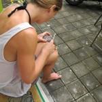 filing coconut shell
