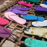 thongs drying in the sun